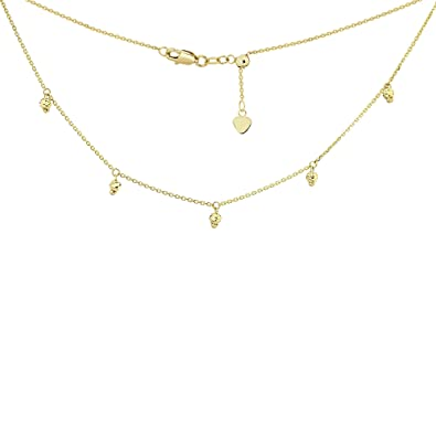 ca223243637993 Image Unavailable. Image not available for. Color: Choker Necklace with  Dangling Bead Charms Chain 14k Yellow Gold - Adjustable