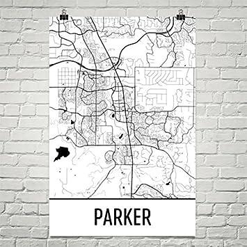 Colorado Karte.Modern Map Art Parker Co Karte Parker Kunst Parker Print Parker