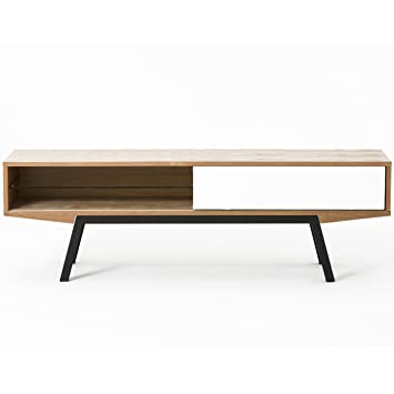 Meuble TV design scandinave ARTAT frªne et blanc 160 cm Amazon
