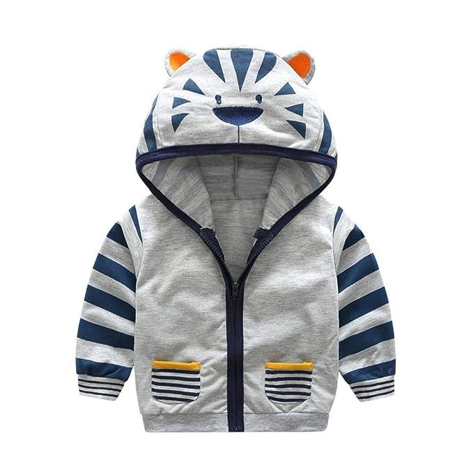 bc85767cb4f3 Amazon.com  Kids Baby Boys Hooded Zipper Coat Jacket Cute Cartoon ...