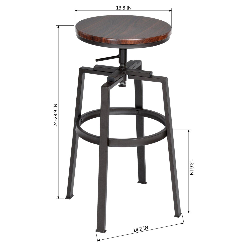 Innovareds® Set of 2 Bar Stool Industrial Metal Style Vintage Wood Adjustable Height Swivel innovareds-uk
