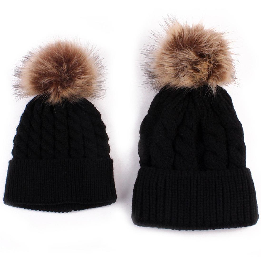 Amazon.com   Sunbona Mom and Baby Matching Knitting Hat Cap Winter Warm  Cute Pur Pom Pom Beanie Hat (Black)   Sports   Outdoors 501bd48d0b1