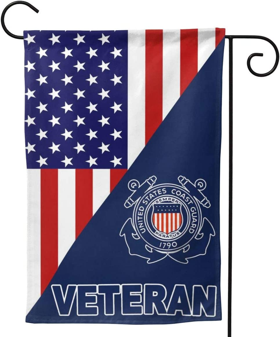RGHJK Us Coast Guard Veteran Full-Width Printing Home Garden Flag Double Sided Banners Backyard Or Lawn Decoration
