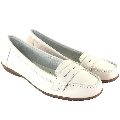 Zapatos para Mujeres de Hush Puppies Ceil Penny mocasines de cuero blanco: Amazon.es: Zapatos y complementos