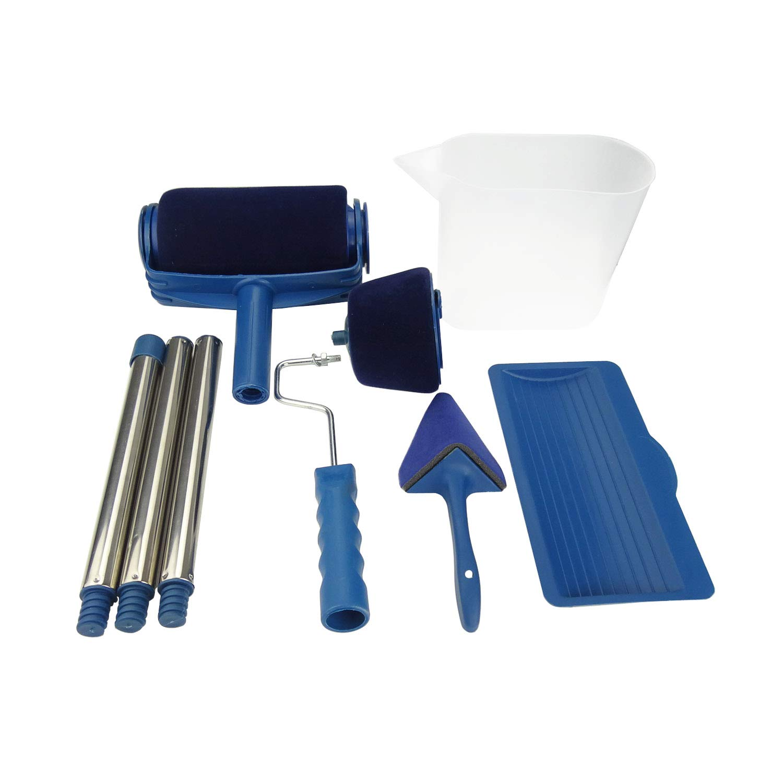 Plum Garden 6pcs Multifunction Roller Paint Brush Set, Roller Paint Brush Handle Tool for Home, Office, Room, Wall, Door, Floor, Ceiling, Roof