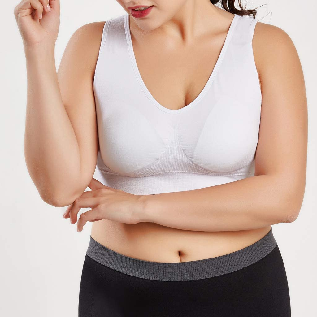 LEXUPE Women Pure Color Plus Size Ultra-Thin Large Bra Sports Bra Full Bra Cup Tops