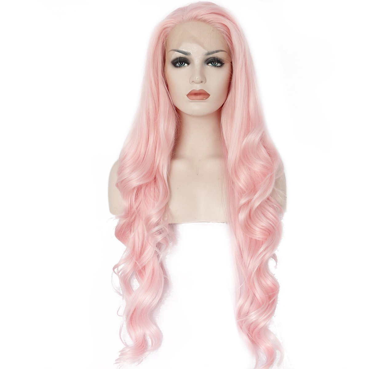 Ebingoo Handmade Women Synthetic Lace Front Wig Heat Resistant Natural Long Wavy Fiber Hair Pink Color (24inches)