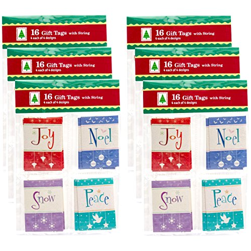Paper Magic Group Set of 96 Assorted Small Christmas Tags & String Ties 4 Unique Styles
