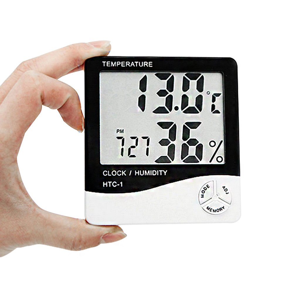 LG-HTC LCD Digital Hygrometer large Display Screen and Alarm Clock Function with Digital Hygrometer Temperature of Indoor and Humidity Meter Accurate Readings for Smart Home mywellwork co. ltd