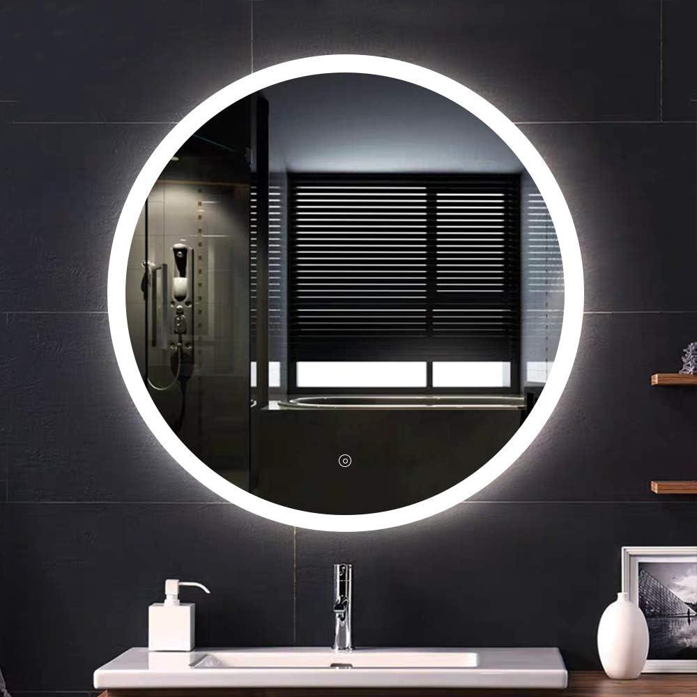 + 5050LED interruttore tattile Specchio da bagno 50 * 70 cm 6400K Specchio LED,Bianco freddo impermeabile
