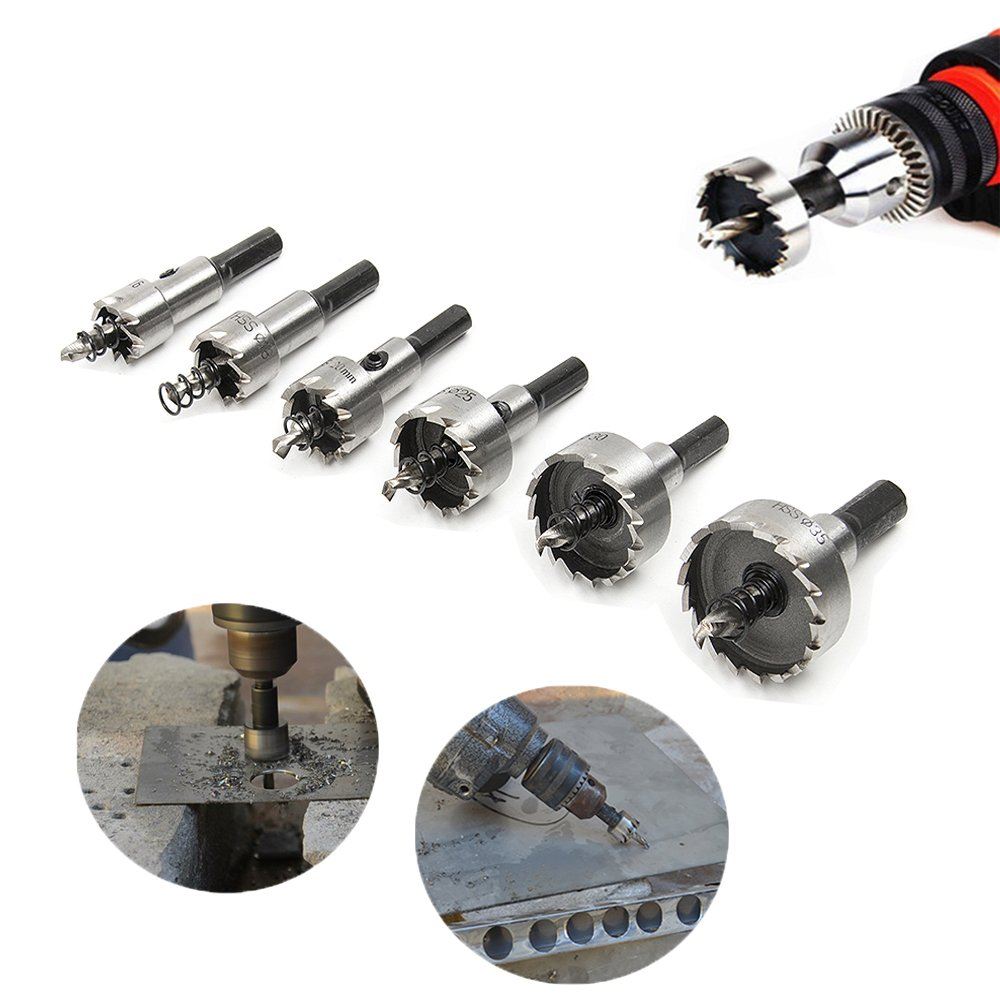 HSS Hole Saw Set, Ankoow 6542 High-Speed Steel 6Pcs 16mm-35mm Hole Saw Cutting Kit Opener Heavy Duty Ceramic Drill Bit Cutter for Steel Iron Aluminum Alloy(Common Set)