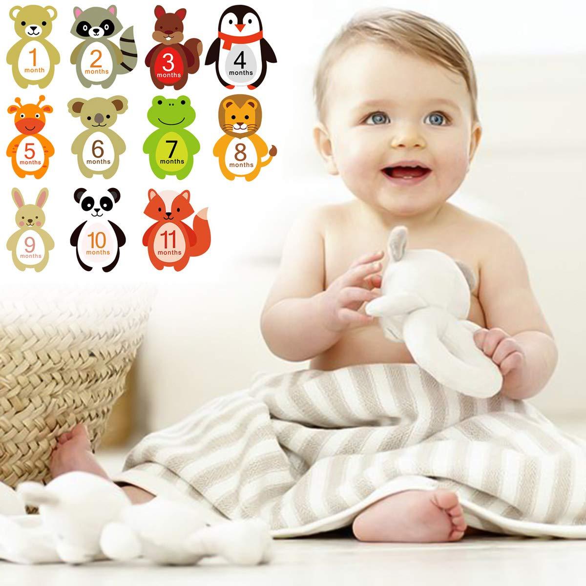 pegatinas de dibujos animados con hitos mensuales Borlai 12 pegatinas de mes de beb/é pegatinas de mes para beb/é ni/ña ni/ño baby shower regalo