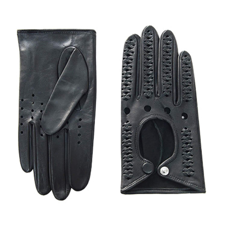 本革フルフィンガードライビンググローブオートバイドライビングサイクリンググローブ、1ペア (Color : Black) B07QJWDG9Z Black