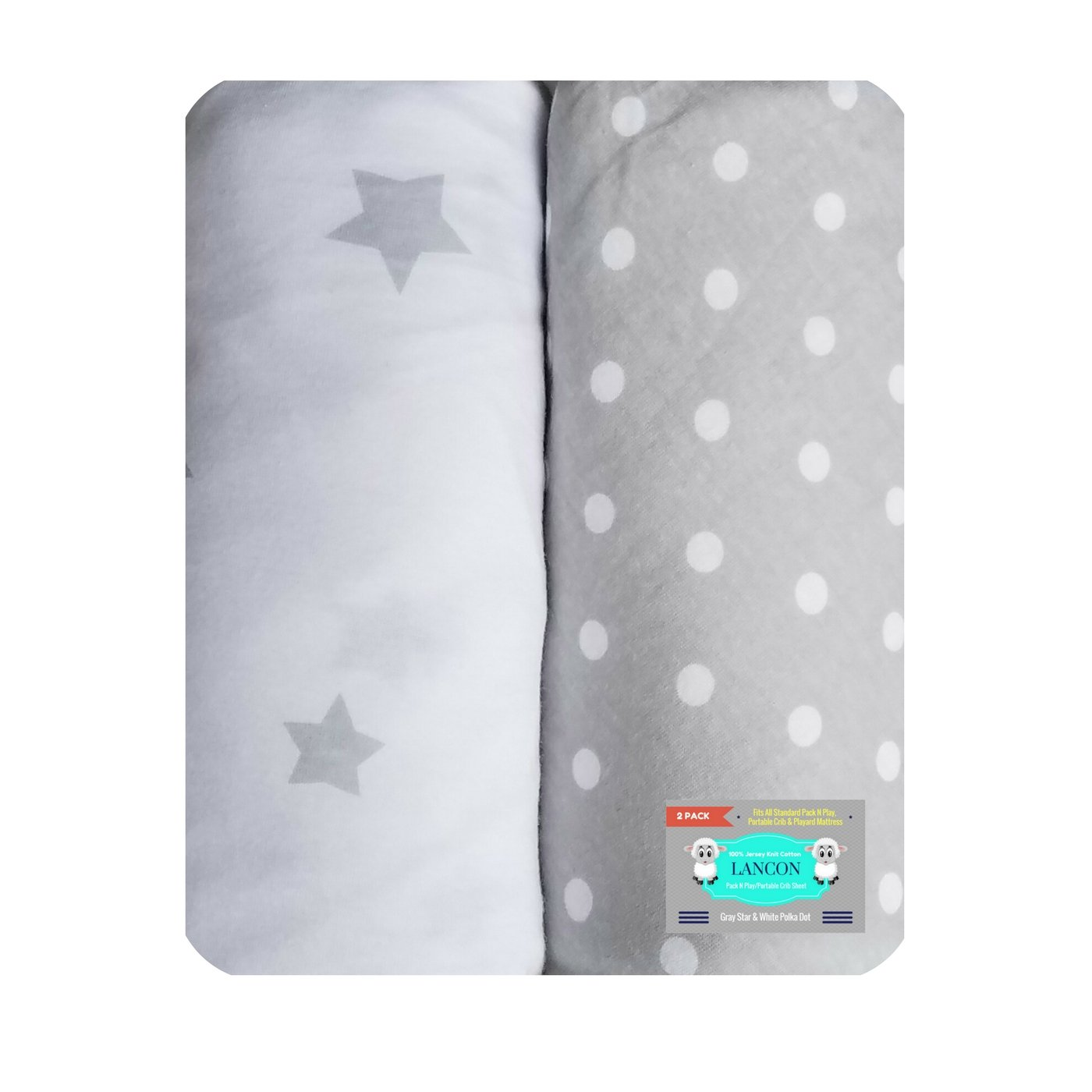 Pack N Play Portable Crib Sheet Set by LANCON Kids - 2 Pack of Ultra Soft, Premium 100% Jersey Knit Cotton Fitted Sheets (Gray Star/White Polka Dot)