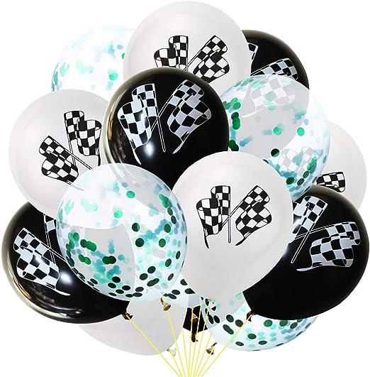 NUOBESTY 15 unids Globos de Látex Redondo Lindo Confeti Racing Bandera Globos Globos de Helio para Baby Shower Kids Birthday Party Supplies: Amazon.es: Hogar