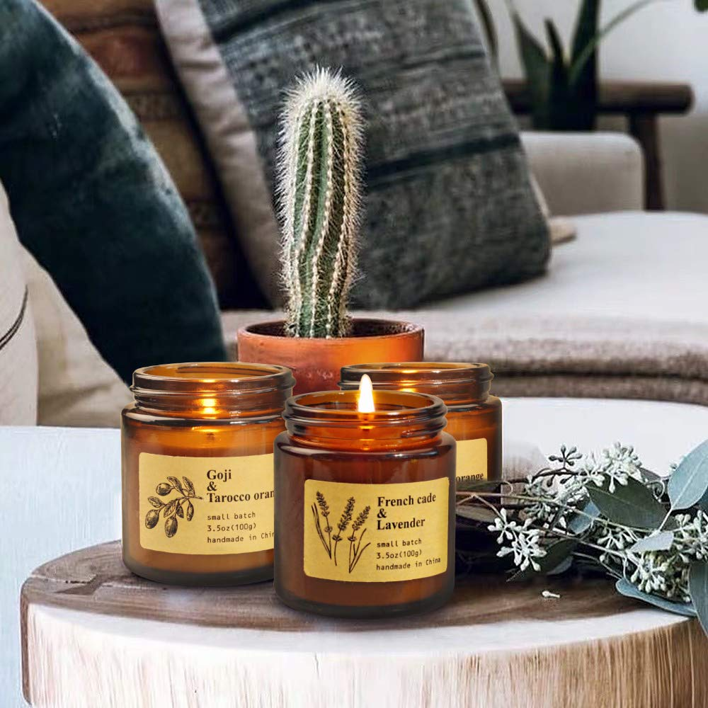 Yinuo Mirror Scented Candles Gift Set 3Pack 100/% Soy Wax Apothecary Amber Jar Candles Perfect Women Gifts for Stress Relief and Aromatherapy Relaxation