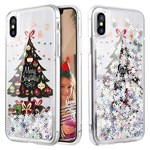 iPhone X Case, Caka iPhone Xs Glitter Case Liquid Series Girls Luxury Fashion Bling Flowing Liquid Floating Sparkle Glitter Cute Soft TPU Christmas Case for iPhone X/XS - (Tree)