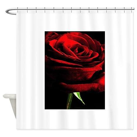Amazon CafePress Red Rose Of Love On Black Velvet Shower