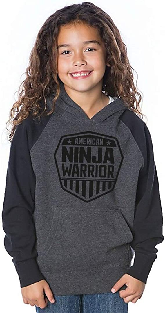 American Ninja Warrior Kids Black Grey Hooded Sweatshirt - Perfect for Young ANW Fans - Official ANW Merch - Machine Washable