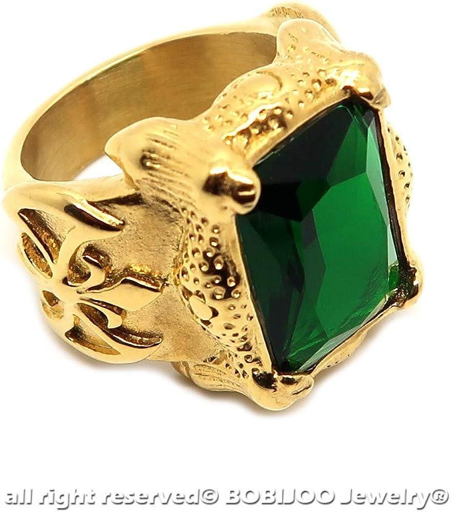 BOBIJOO Jewelry Grosse Chevali/ère Bague Homme Acier Plaqu/é Or Patriote Fleur de Lys Vert Roi