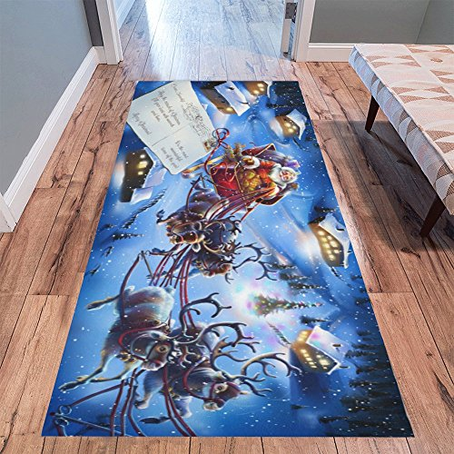 InterestPrint Vintage Christmas Santa Claus with Reindeer Modern Area Rug Carpet 10' x 3'3