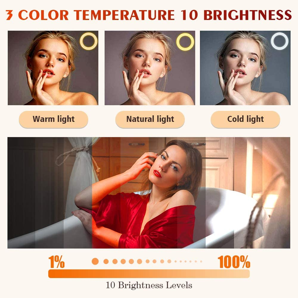 LED Ring Light with Tripod Stand,10 inch Dimmable,3 Color Modes and 10 Brightness for Youtube Video,Makeup,Selfie,Photography,Camera,Live Streaming