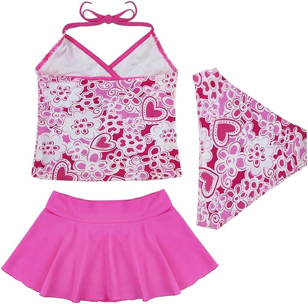winying Girls 2PCS Swimsuit Floral Printed Short Sleeves Tops with Bottoms Set Tankini Swimwear Rash Guard