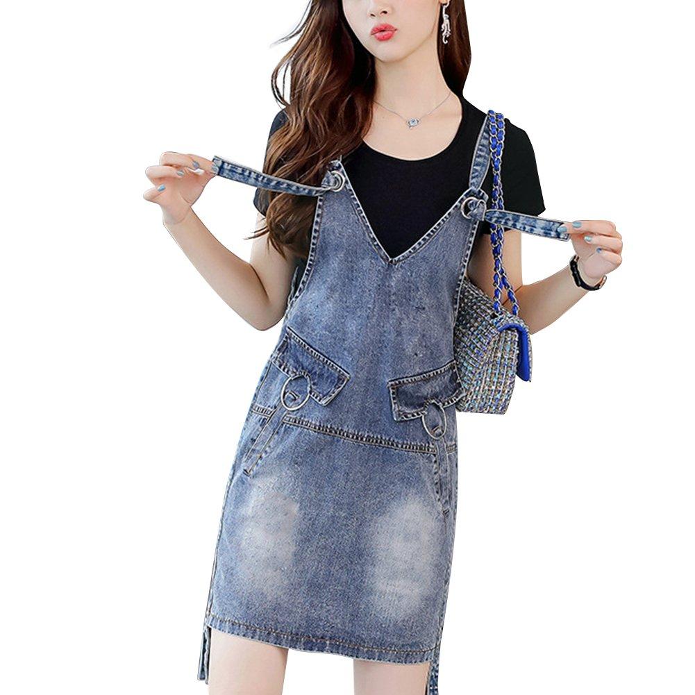 Meiyiu Women Stylish Denim Skirt Shoulder Strap Suspender Skirt Casual Daily Wear Outfits Gift Denim Blue (Single Skirt) XXL by Meiyiu (Image #2)