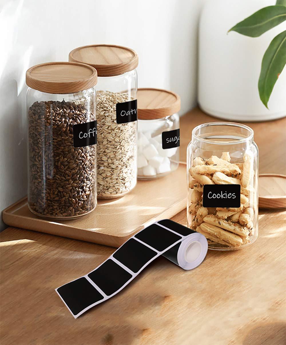 LLXIA 270pcs Etiquetas de mesa Autoadhesivas con 2pcs Marcador de tiza removible Etiquetas perfectas Compa/ñero para vasos de especias de cocina etc. mermeladas