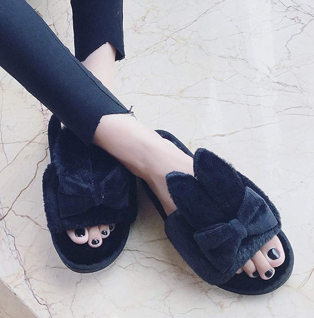 Women Open Toe Slippers,Nevera Indoor Fuzzy Fleece Flip Flop Comfy Anti-Slip Bow Slip On Bedroom Indoor House Shoes