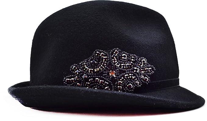4ac769a2b9b August Accessories Womens Glitter Glamour Jeweled Fedora Black at ...