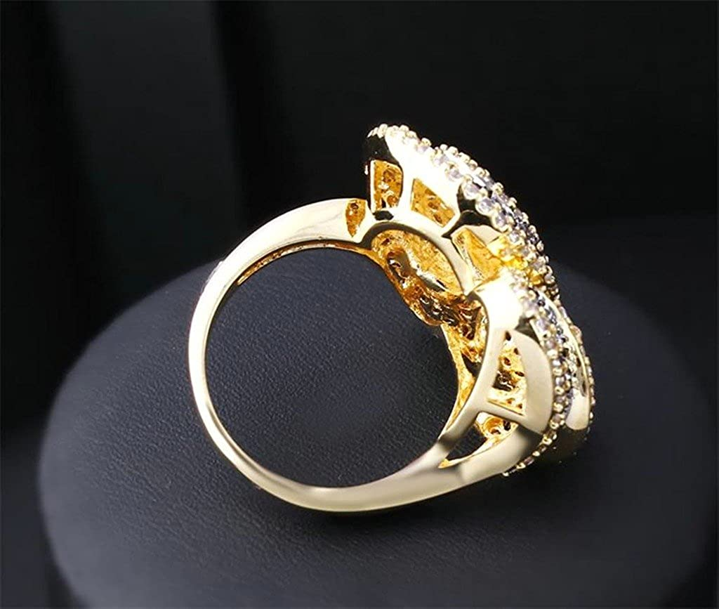 Bishilin 18K Gold Plated Flower Shaped With Black And White Cubic Zirconia Women Rings For Wedding Size 10