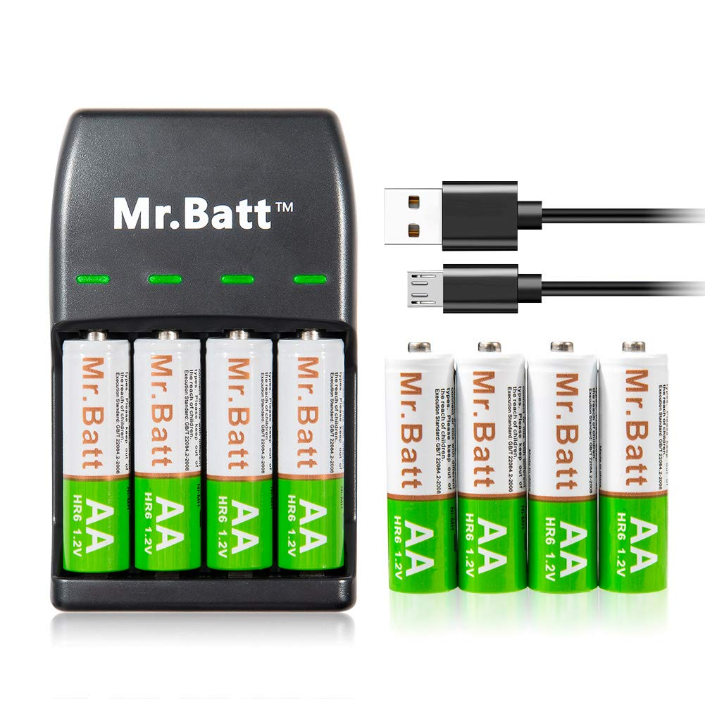 Mr.Batt Rechargeable AA Batteries 1600mAh (8 Pack) and Rechargeable Battery Charger