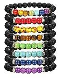 Thunaraz 8 Pack Chakra Bracelet for Women Men Natural Stone Stretch Bracelets Yoga Reiki Prayer Beads Lucky Bracelet