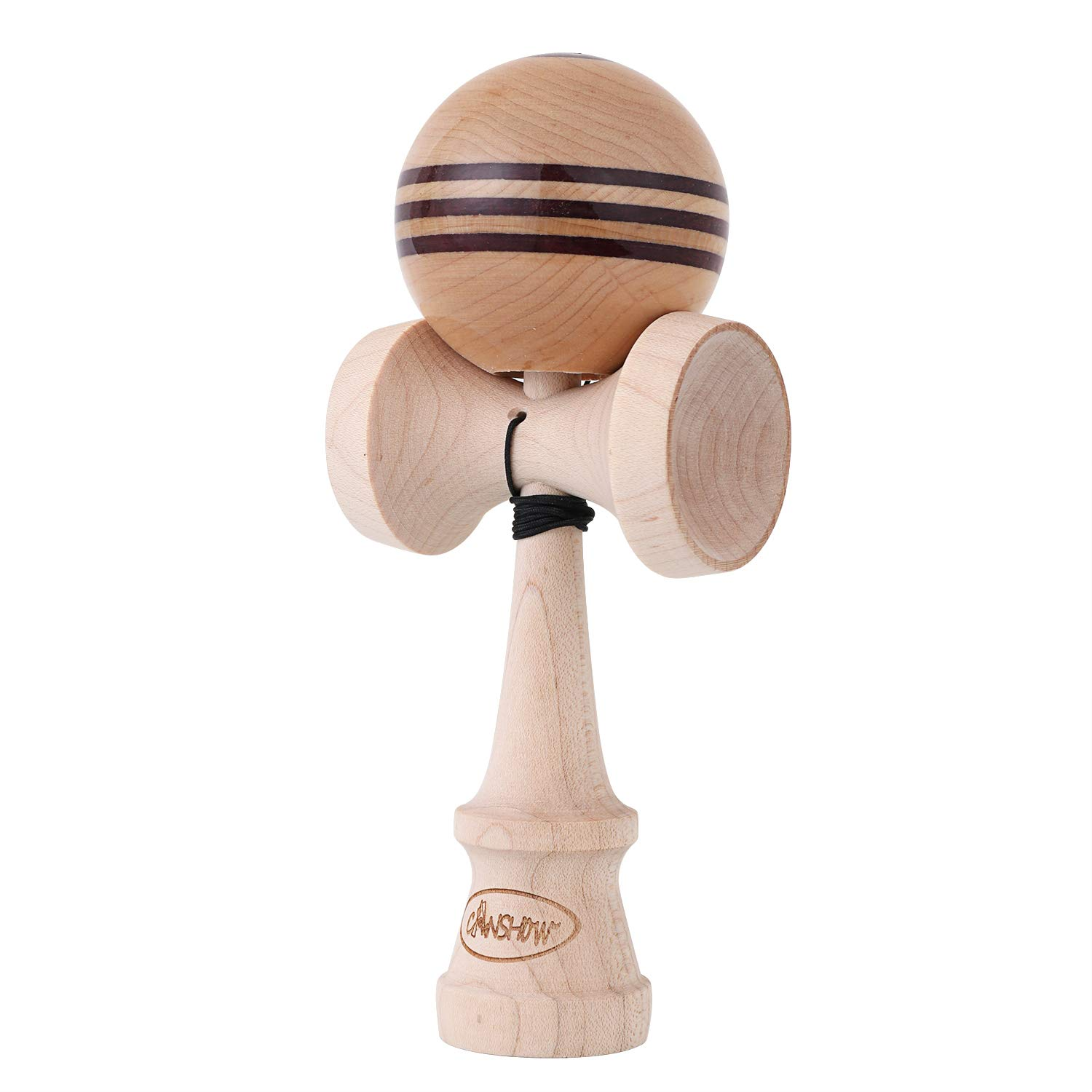 CANSHOW Kendama, Stripe Design Pro kendamas Maple Wood with Purple Heart Wood Line with Sticky Paint Tama , Extra String Accessory Bundle ...
