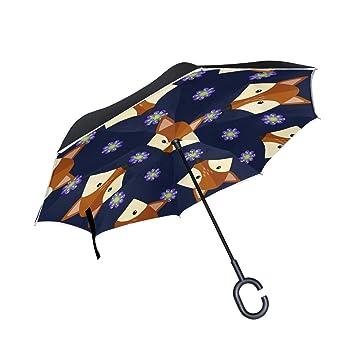ALINLO Paraguas invertido Dibujos Animados Fox, Doble Capa, Paraguas inverso Impermeable para Coche Lluvia