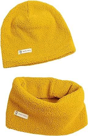 Boomly Bebé Sombrero de Beanie + Bufanda Calentador de cuello Otoño Invierno Color sólido Sombrero de punto Bufanda de tubo Collares Para niños de 0 a 7 años Niñas