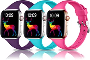 Laffav Compatible with Apple Watch Band 40mm 38mm iWatch SE & Series 6 & Series 5 4 3 2 1 for Women Men, Rose Pink, Teal, Purple, 3 Pack, S/M