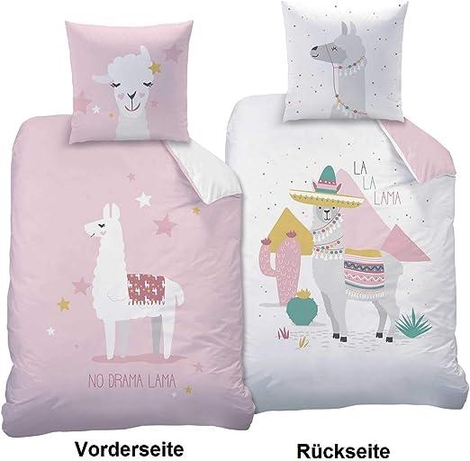 CTI Lama Queen - Juego de cama (funda nórdica de 135 x 200 cm y funda de almohada de 80 x 80 cm, 100% algodón), color rosa: Amazon.es: Hogar