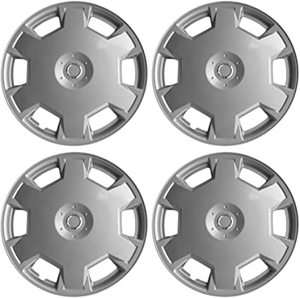 Wheel Covers 15in Hub Caps Silver Rim Cover 15 inch Hubcaps Best for 2009-2014 Nissan Versa - Set of 4 Car Accessories for 15 inch Wheels Auto Tire Replacement Exterior Cap Snap On Hubcap
