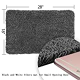 Clean Step Mat Super Absorbs Mud Doormat Latex Backing Machine Washable 18x 28 Black White Fibers