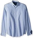 Bugatchi Men's Cotton Print Classic Fit Spread Collar Woven Shirt, Air Blue, XXL