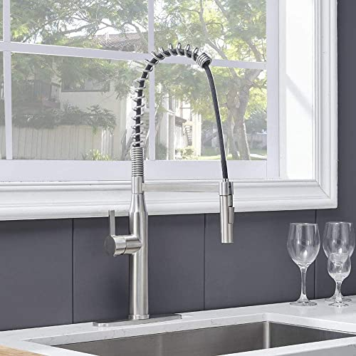 Kitchen Faucet,Modern Kitchen Sink Faucet,Commercial Brushed Nickel Faucet,Farmhouse Pull Down Sprayer Sink Faucet,Single Handle Industrial High Arc Stainless Steel Spring Kitchen Faucets