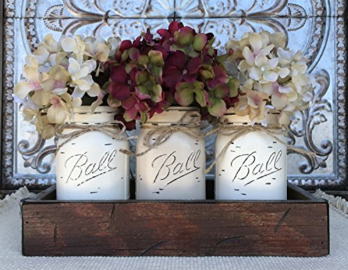 Mason Canning JARS in Wood Antique RED Tray Centerpiece with 3 Ball Pint Jar - Kitchen Table Decor - Distressed Rustic - Flowers (Optional) - CREAM X2, SAND Painted Jars (Pictured)