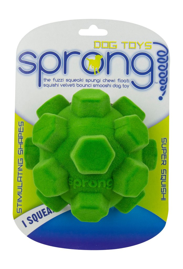 Sprong Dog Chew and Squeak Toys - Large Hex Ball - Assorted Colors