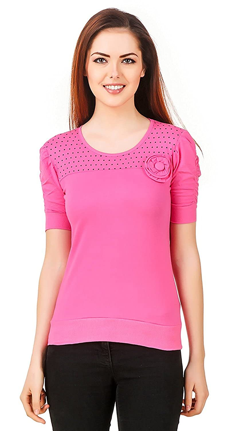 f8f159c57233c Kiba Retail Women s Stylish Fashionable Top For Women Girls For Summer  Western Wear Designer Flower Top (Color- Babypink)  Amazon.in  Clothing    Accessories