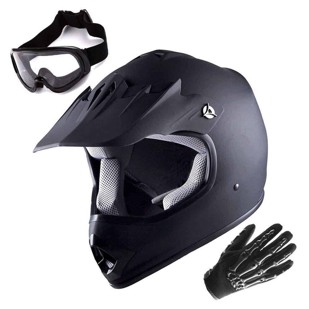 WOW Youth Motocross Helmet BMX MX ATV Dirt Bike Matt Black Helmet + Goggles + Skeleton Black Glove Bundle Power Gear Motorsports HJOY_HBOY_Bundle