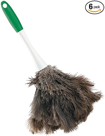 Polypropylene and Sanoprene Handle Green and White Handle 2- Libman Commercial 239 Handheld Feather Duster 13 Total Length Pack of 6 Pack