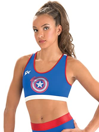 b44b4048501 GK Marvel Captain America Crop Top Sports Bra | Shield (Royal Blue),Blue