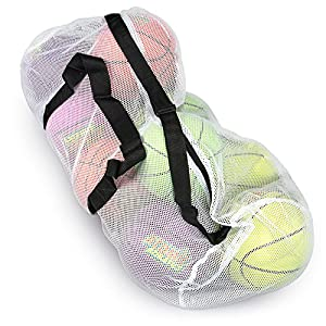 "39"" Mesh Sports Ball Bag with Adjustable Shoulder Strap, Oversize Duffle - Great for Carrying Gym Equipment, Jerseys, & Laundry by Crown Sporting Goods (White)"
